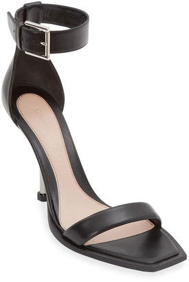 Alexander McQueen Leather Ankle-Cuff Stiletto Sandals