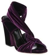 Sergio Rossi Moulage Velvet Block-Heel Sandals