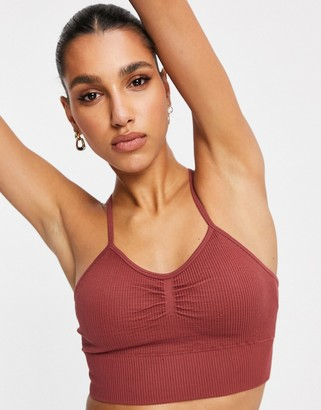 South Beach fitness ribbed long line crop top in burgundy