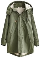 Aivtalk Women Jackets Zipper Outwear Parka Long Cardigan Hooded Jacket Coat Size XXL