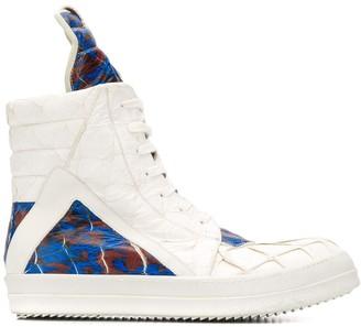 Rick Owens Embossed Effect Patterned High Top Sneakers