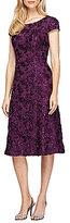 Alex Evenings A-Line Rosette Midi Dress