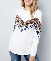 Celeste Women's Tunics IVORY - Ivory Leopard Chevron Long-Sleeve Top - Plus