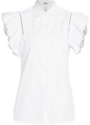 Miu Miu Ruffle Short-Sleeve Blouse