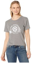 Life is Good Take It Sloth Cool Tee (Slate Gray) Women's Clothing