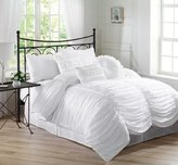 Chezmoi Collection 7-Piece Chic Ruched Duvet Cover Set, Queen, White