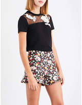 RED Valentino Floral-embroidered lace and cotton-jersey T-shirt
