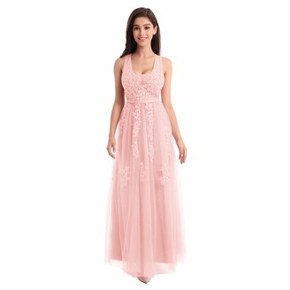 FYMNSI Women Wedding Bridesmaid Dress Lace Applique Tulle Tutu Floor Length Sleeveless Double V-Neck A-line Long Maxi Gown for Evening Cocktail Pageant Homecoming Formal Occasion Pink UK 22