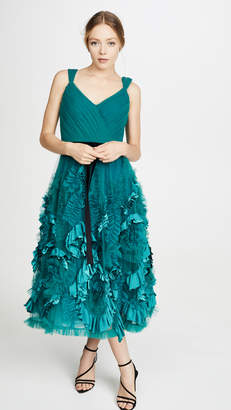 Marchesa Sleeveless Mixed Media Textured Tea-Length Gown