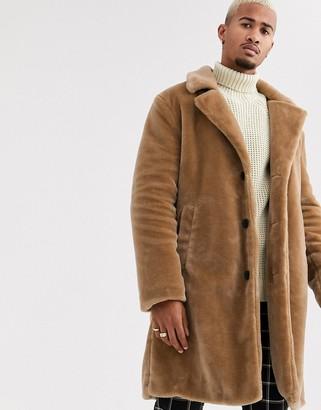 Topman faux fur jacket in brown