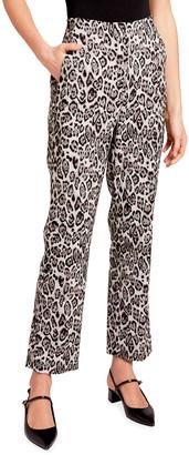 Erdem Pansy Leopard-Print Cigarette Trousers