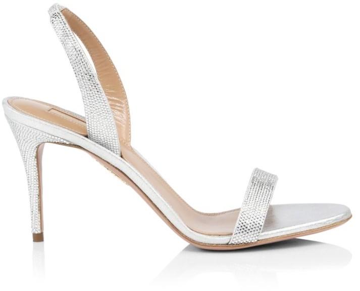 Aquazzura So Nude Crystal-Embellished Metallic Leather Slingback Sandals