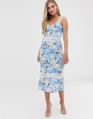 Bronx And Banco & Banco Yana floral pencil midi dress-Blue