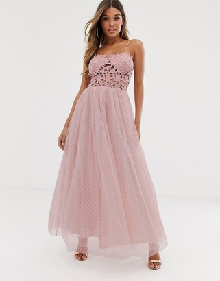 Club L London tulle skirt maxi dress with lace bodice-Pink