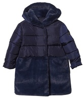 Il Gufo Navy Puffer Coat with Faux Fur Hem