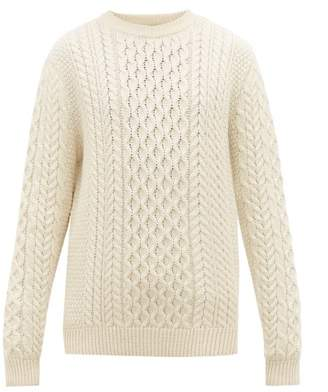 Sunspel Cable Knitted Wool Sweater - Mens - White