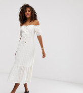 Asos Tall DESIGN Tall button through off shoulder midi dress in texture