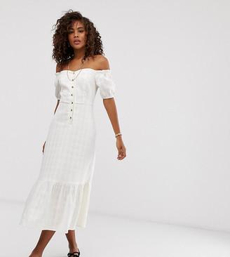 Asos DESIGN Tall button through off shoulder midi dress in texture