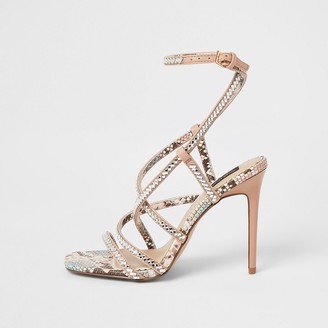 River Island Pink diamante strappy wide fit heeled sandals