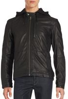 Cole Haan Hooded Leather Jacket