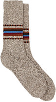 Barneys New York Men's Marled Stockinette-Stitched Mid-Calf Socks-TAN