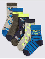 Marks and Spencer 5 Pairs of Cotton Rich Socks (1-6 Years)