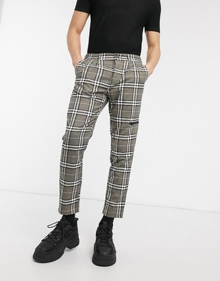 ASOS DESIGN cigarette trousers in check with zip pocket