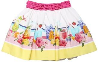 MonnaLisa Printed Cotton Poplin Skirt