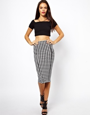 Asos Dogtooth Pencil Skirt with Piping Detail - Mono