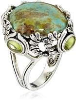 Barse Sterling Silver and Patagoniac Turquoise Peridot Ring, Size 7