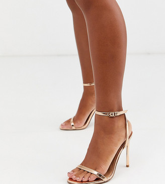 ASOS DESIGN Wide Fit Nova barely there heeled sandals in rose gold