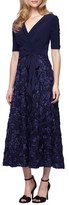 Alex Evenings Women's Mixed Media Tea Length Dress