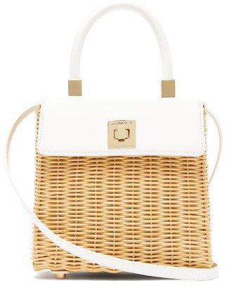 Sparrows Weave - The Classic Wicker And Leather Top-handle Bag - Womens - White