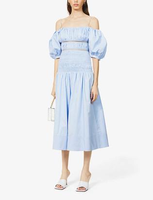 Self-Portrait Puff-sleeve cotton midi dress