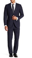 English Laundry Navy Windowpane Two Button Notch Lapel Trim Fit Suit