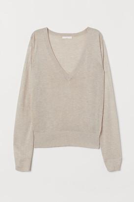 H&M V-neck Sweater - Beige