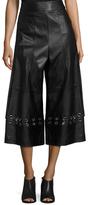 Tibi Leather Metal Eyelet Wide Leg Pant