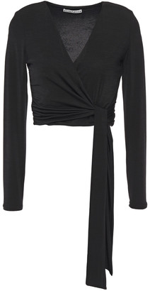 Alice + Olivia Nya Cropped Stretch-jersey Wrap Top