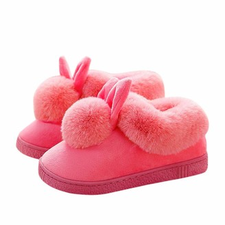 MoneRffi Womens Slippers Memory Foam Slippers Wool-Like Plush Fleece Lined Slip On House Slippers Indoor Outdoor Home Slippers Anti-Skid Rubber Sole(C-red4.5 UK)