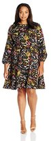 London Times Women's Plus Size Sketch Flower Full Skirt Dress with Lace Applique AT Shoulder