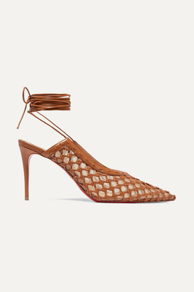Christian Louboutin + Roland Mouret Cage And Curry Mesh And Woven Leather Pumps - Tan