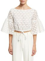 Milly Lydia Floral-Embroidered Lace Crop Top, White