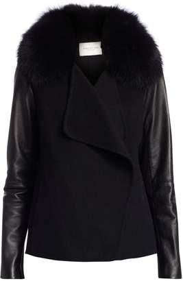 Halston Faux Fur Collar Leather-Sleeve Jacket