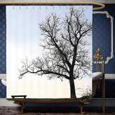 Wanranhome Custom-made shower curtain pestry Wall Hanging Silhouette of A Bench and A Tree against Pale Evening Sky in Winter Nature Landscape Blue Brown - ?? For Bathroom Decoration