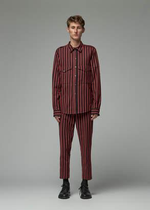 Ann Demeulemeester Men's Striped Shirt in Devonte Black/Red Size Large Wool/Wool