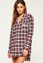 Missguided Checked Long Sleeve Nightshirt