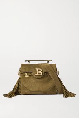 Balmain B-buzz 19 Fringed Suede Shoulder Bag - Green