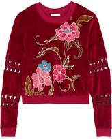 See by Chloe Cropped Printed Cotton-blend Velvet Sweatshirt - Brick