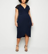 New Look Mela Curves Lace Shoulder Midi Wrap Dress