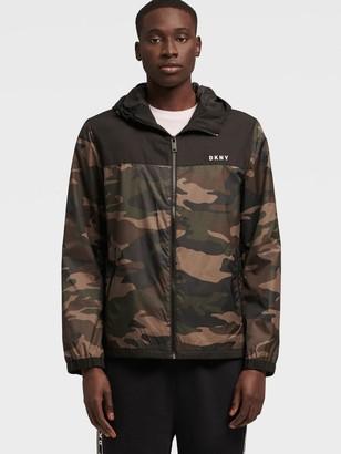 DKNY Men's Yoke Rain Hoodie - Camo - Size XS